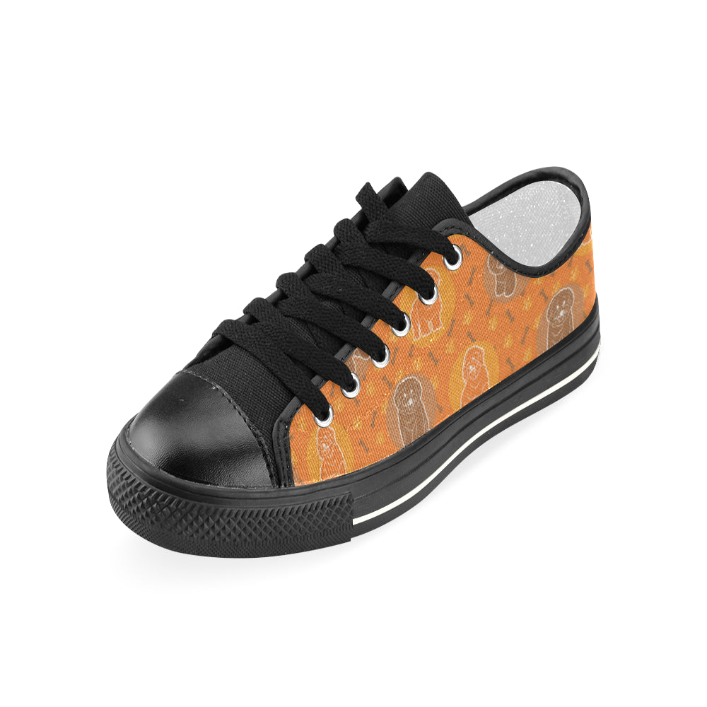 Bichon Frise Pattern Black Women's Classic Canvas Shoes - TeeAmazing