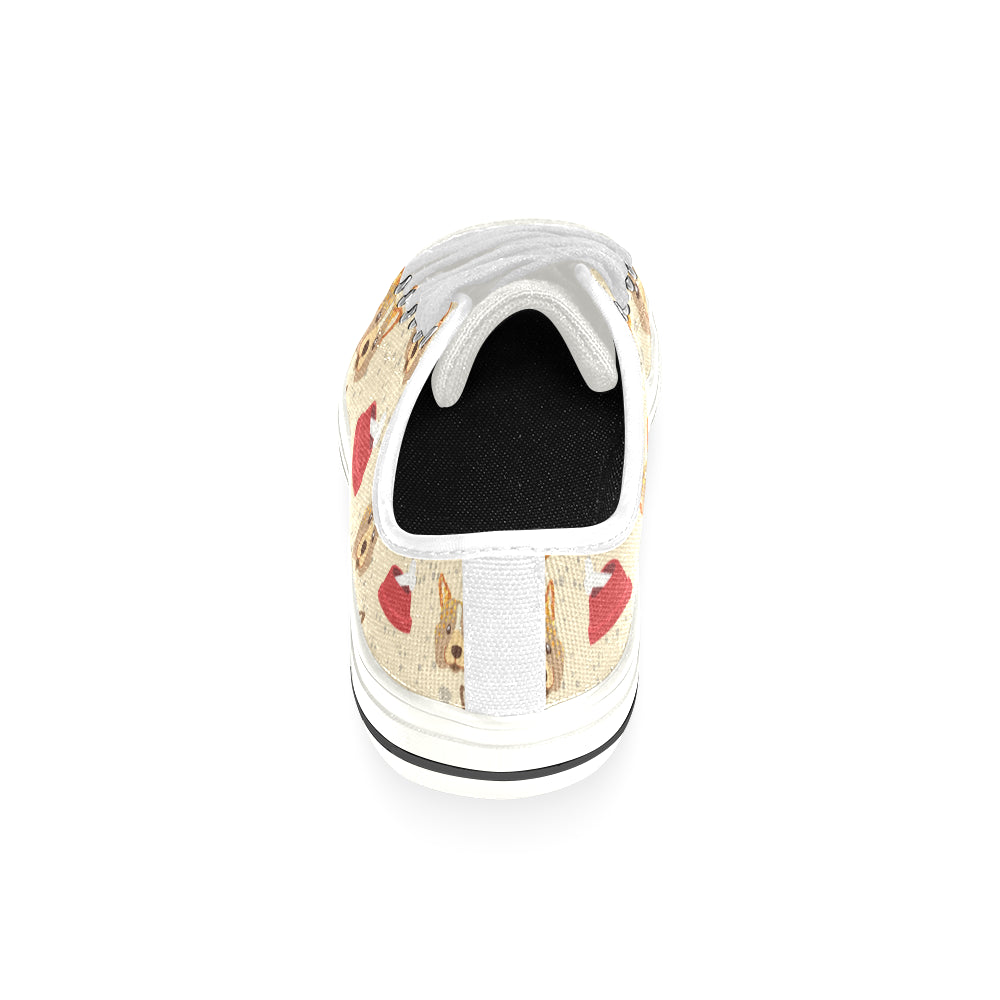 Corgi Pattern White Low Top Canvas Shoes for Kid - TeeAmazing