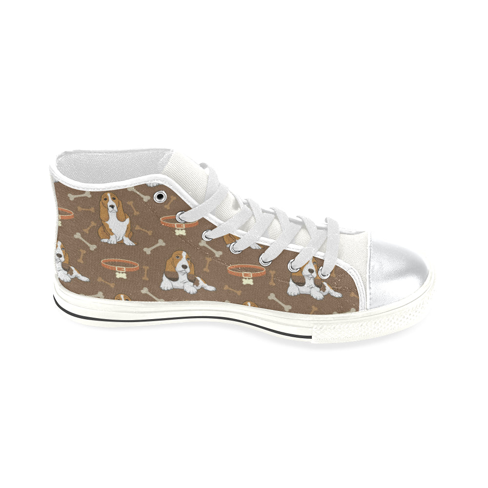 Basset Fauve White High Top Canvas Shoes for Kid - TeeAmazing
