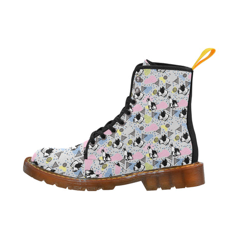 American Staffordshire Terrier Pattern Black Martin Boots For Women - TeeAmazing