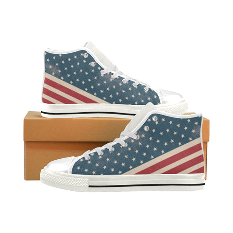 4th July V2 White Men's Classic High Top Canvas Shoes (Model 017) - TeeAmazing