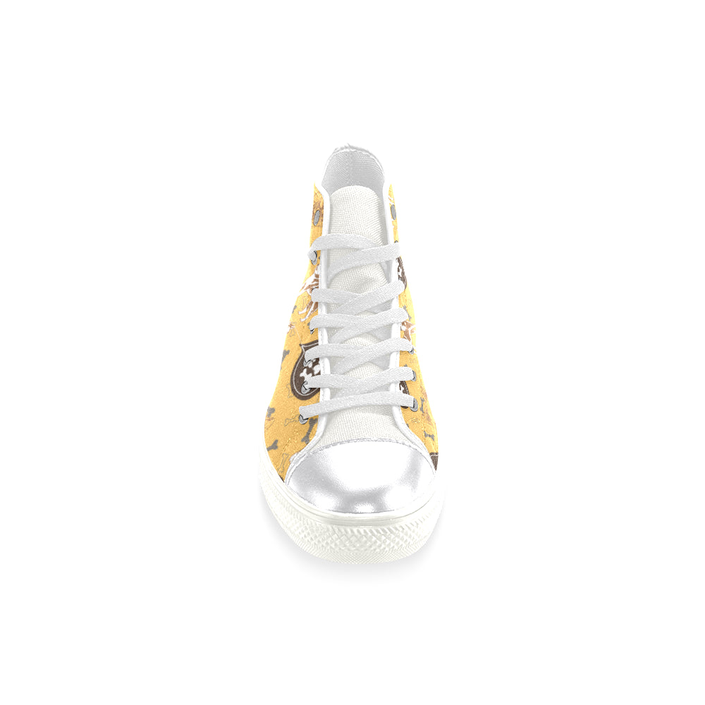 Akita Pattern White Women's Classic High Top Canvas Shoes - TeeAmazing