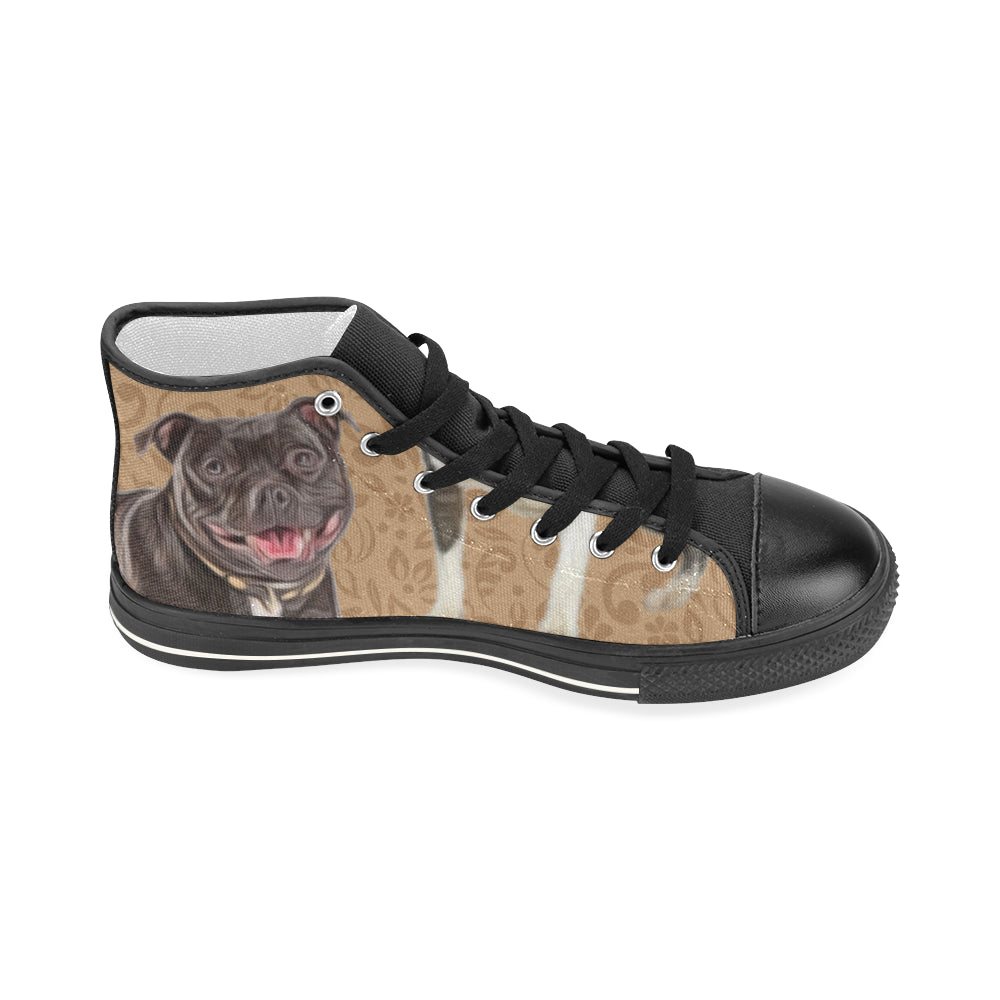 Staffordshire Bull Terrier Lover Black Women's Classic High Top Canvas Shoes - TeeAmazing