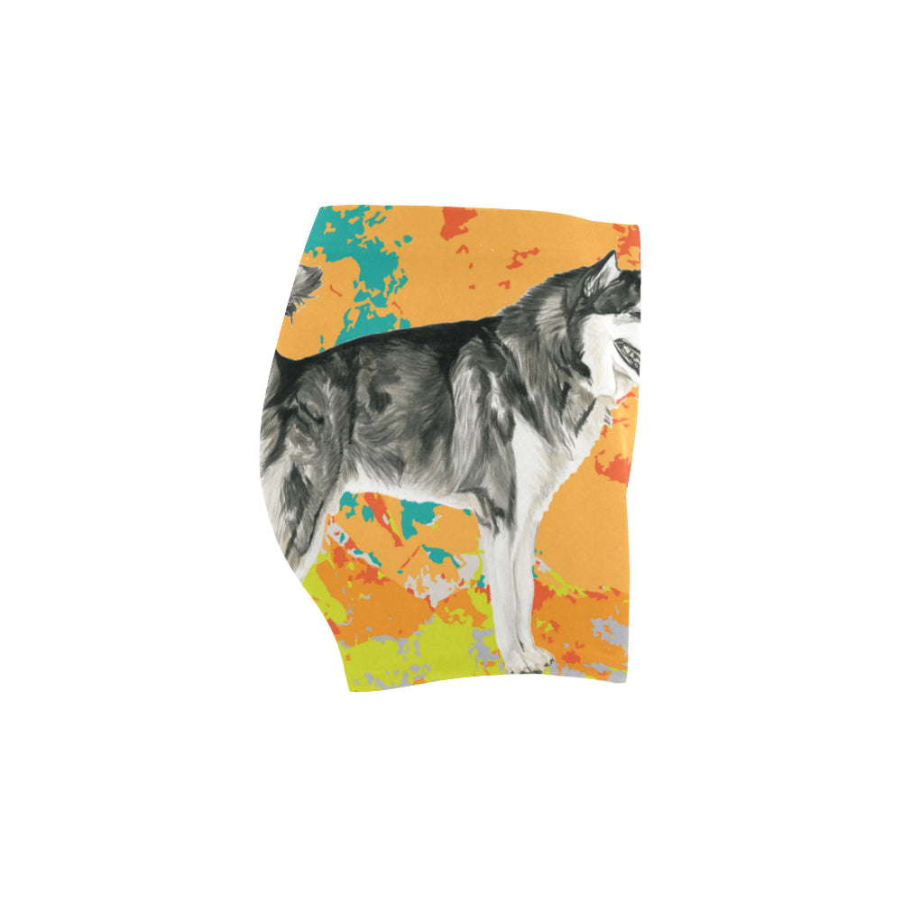 Alaskan Malamute Water Colour No.2 Briseis Skinny Shorts - TeeAmazing