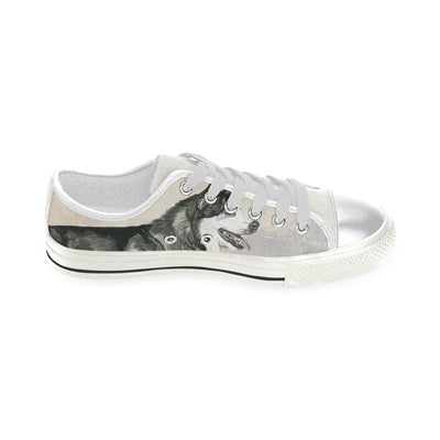 Alaskan Malamute Water Colour White Canvas Women's Shoes/Large Size (Model 018) - TeeAmazing