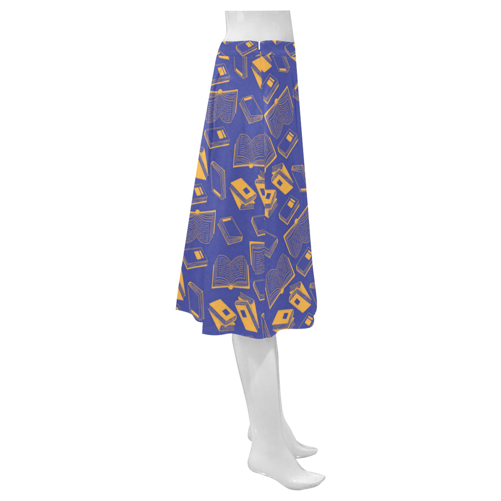 Book Pattern Mnemosyne Women's Crepe Skirt - TeeAmazing