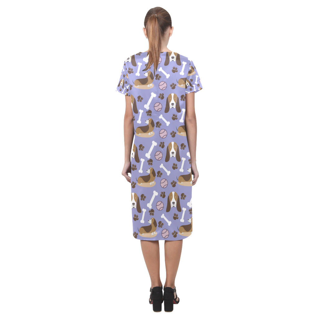 Basset Hound Pattern Short Sleeves Casual Dress - TeeAmazing