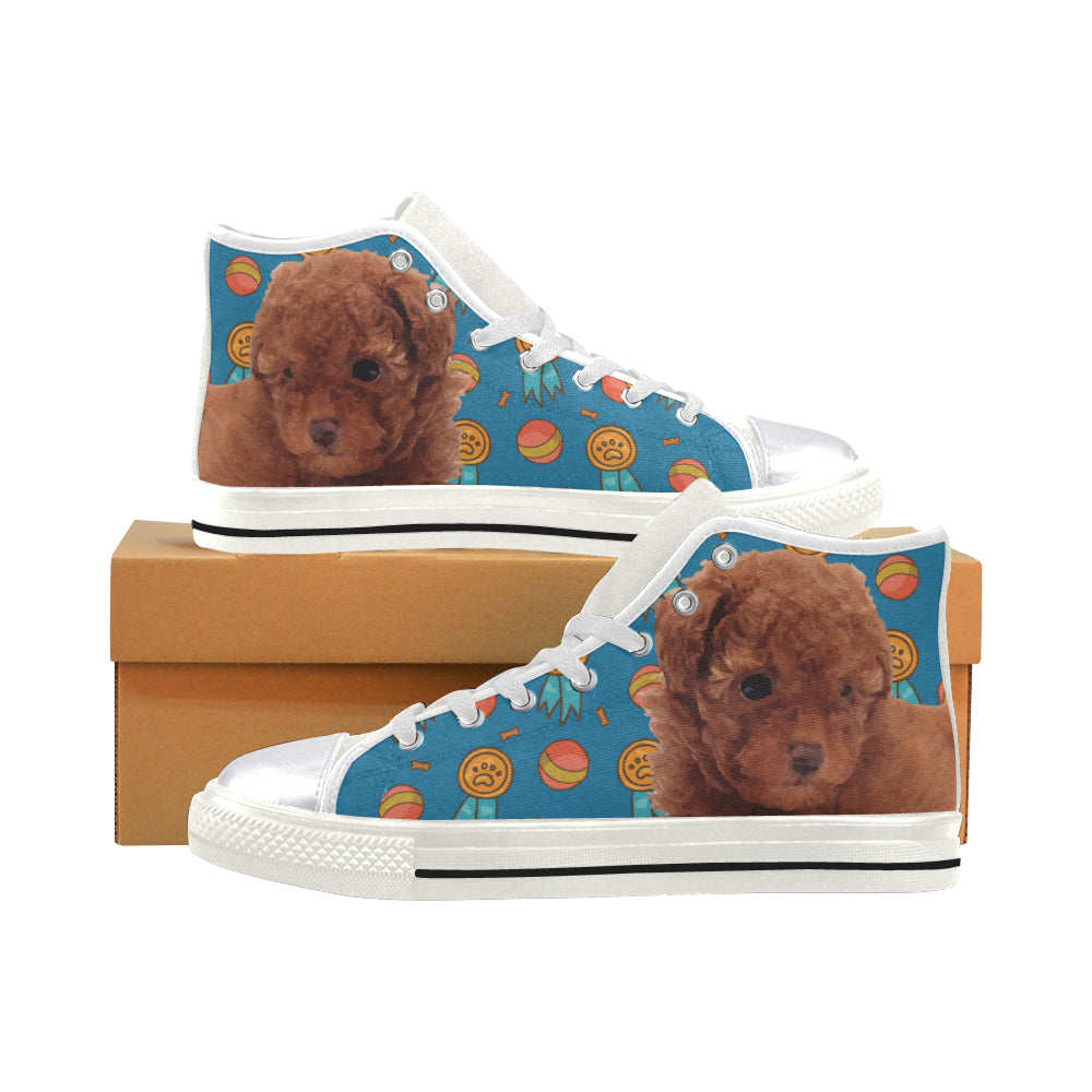Baby Poodle Dog White Women S Classic High Top Canvas Shoes