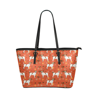 Jack Russell Terrier Water Colour Pattern No.1 Leather Tote Bag/Small - TeeAmazing