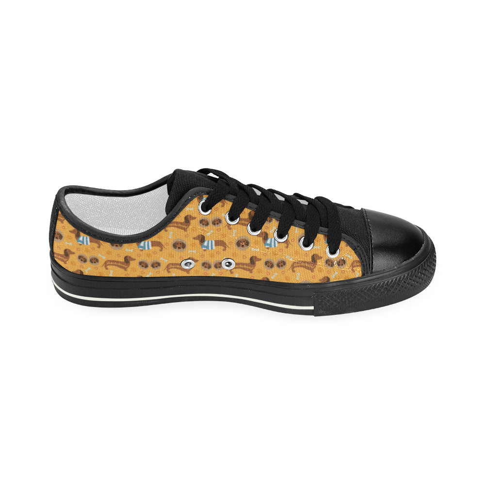 Dachshund Pattern Black Women's Classic Canvas Shoes - TeeAmazing