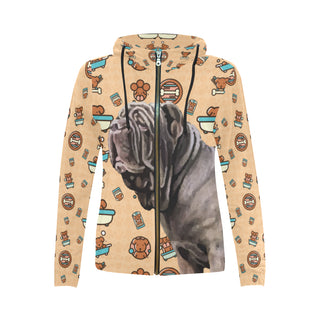 Neapolitan Mastiff Dog All Over Print Full Zip Hoodie for Women - TeeAmazing