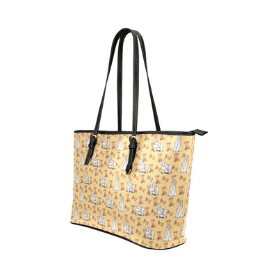 Afghan Hound Pattern Leather Tote Bag/Small (Model 1651) - TeeAmazing
