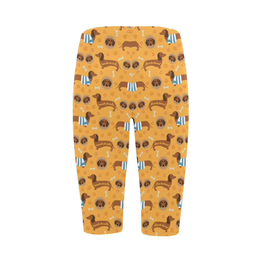 Dachshund Pattern Hestia Cropped Leggings - TeeAmazing