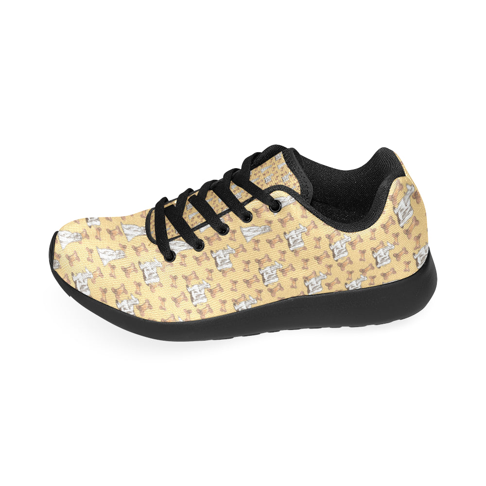 Afghan Hound Pattern Black Sneakers for Women - TeeAmazing
