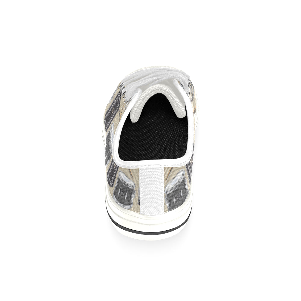 Drum Pattern White Low Top Canvas Shoes for Kid - TeeAmazing