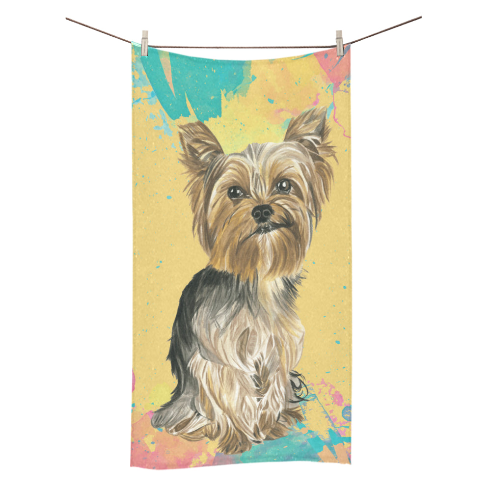 "Yorkshire Terrier Water Colour No.1 Bath Towel 30""x56"" - TeeAmazing"