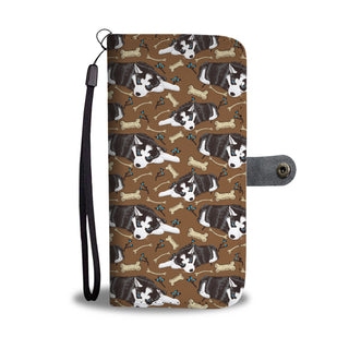 Husky Pattern Design Wallet Phone Case - Husky Phone Case Wallet - TeeAmazing