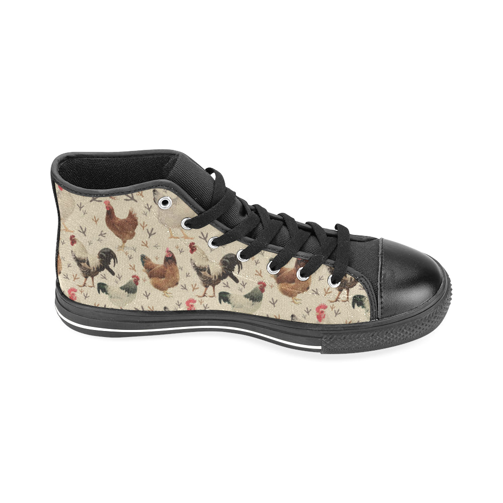 Chicken Black Men's Classic High Top Canvas Shoes /Large Size - TeeAmazing
