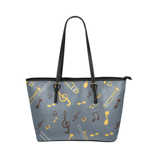 Trombone Pattern Leather Tote Bag/Small - TeeAmazing
