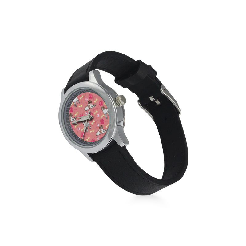 Brittany Spaniel Pattern Kid's Stainless Steel Leather Strap Watch - TeeAmazing