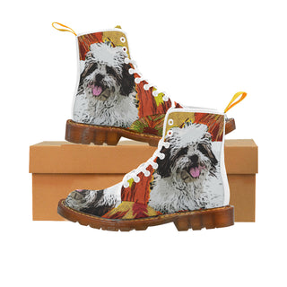 Lhasa Apso White Martin Boots For Men Model 1203H - TeeAmazing