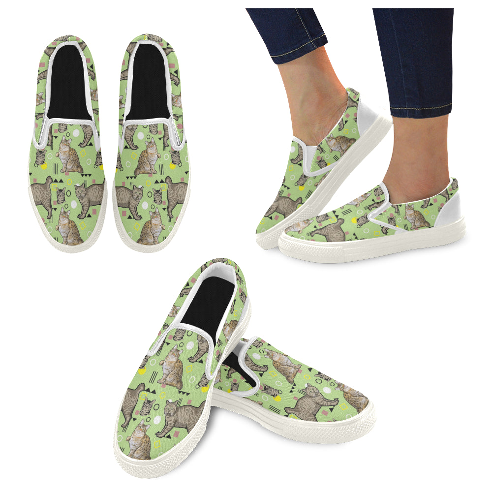 American Bobtail White Women's Slip-on Canvas Shoes - TeeAmazing