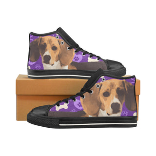 Beagle Black Men's Classic High Top Canvas Shoes /Large Size (Model 017) - TeeAmazing