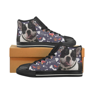 French Bulldog Dog Black Women's Classic High Top Canvas Shoes (Model 017) - TeeAmazing