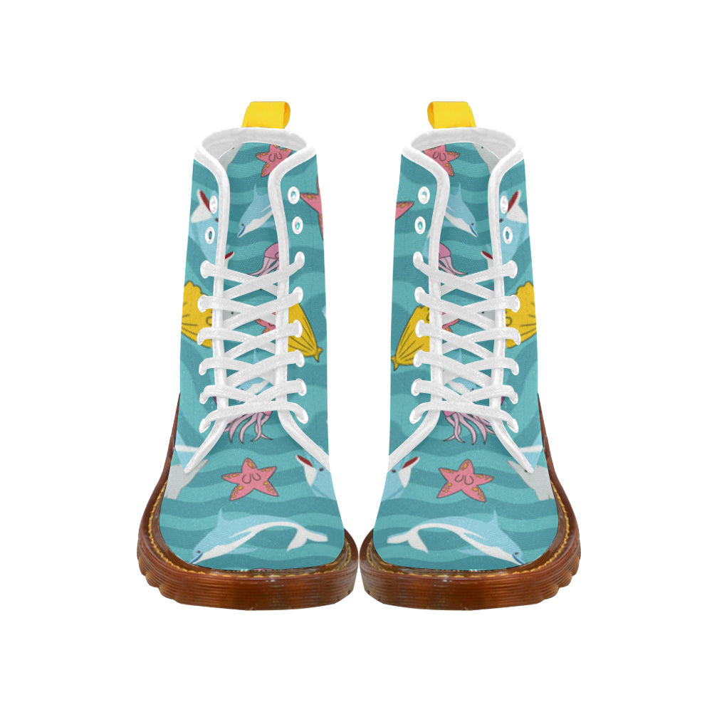 Dolphin White Boots For Women - TeeAmazing
