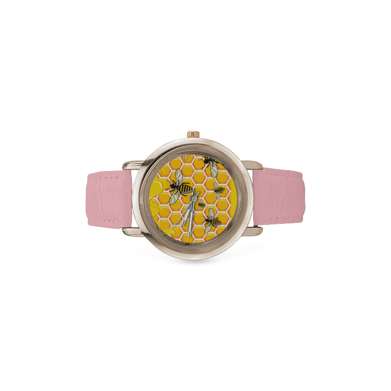 Bee Pattern Women's Rose Gold Leather Strap Watch - TeeAmazing