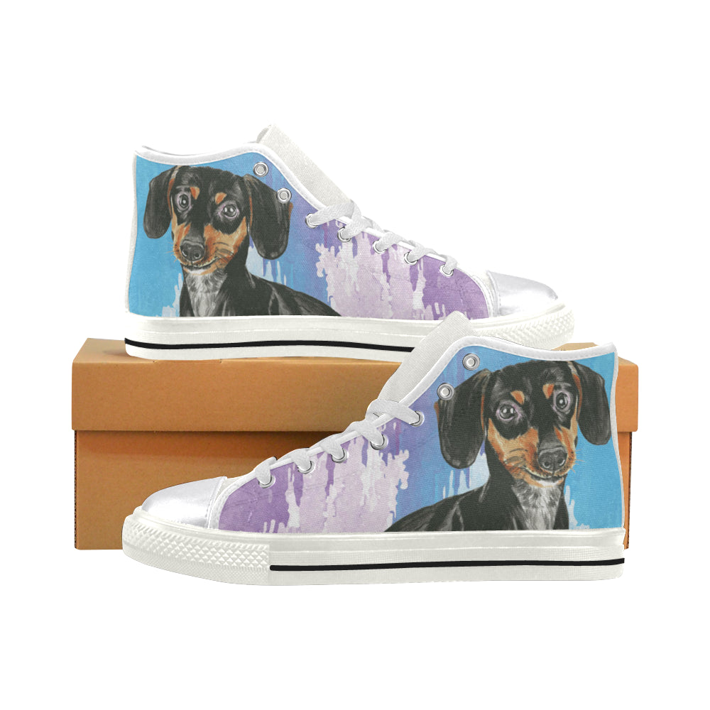 Dachshund Water Colour No.1 White Women's Classic High Top Canvas Shoes - TeeAmazing