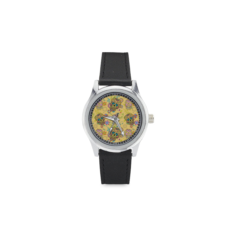 Sugar Skull Kid's Stainless Steel Leather Strap Watch - TeeAmazing