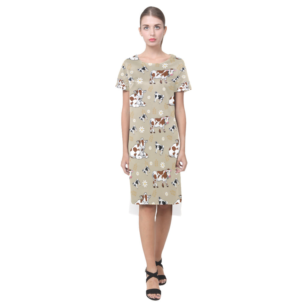 Cow Pattern Short Sleeves Casual Dress - TeeAmazing