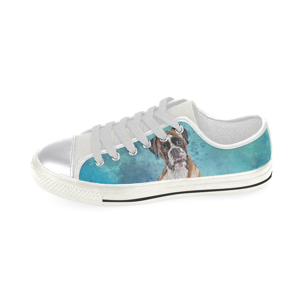 Boxer Water Colour White Women's Classic Canvas Shoes (Model 018) - TeeAmazing