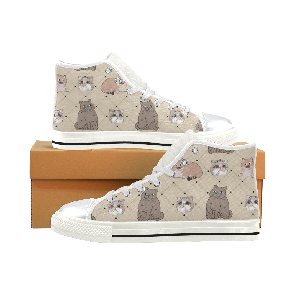 Exotic Shorthair White High Top Canvas Shoes for Kid - TeeAmazing