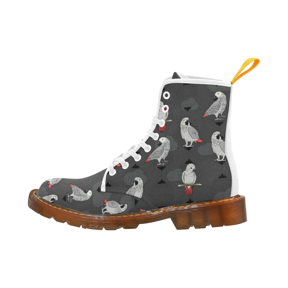 African Greys White Boots For Women - TeeAmazing