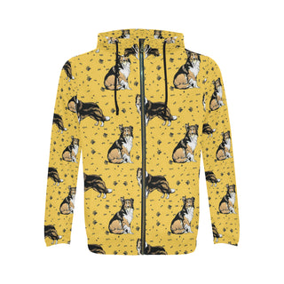 Collie All Over Print Full Zip Hoodie for Men - TeeAmazing