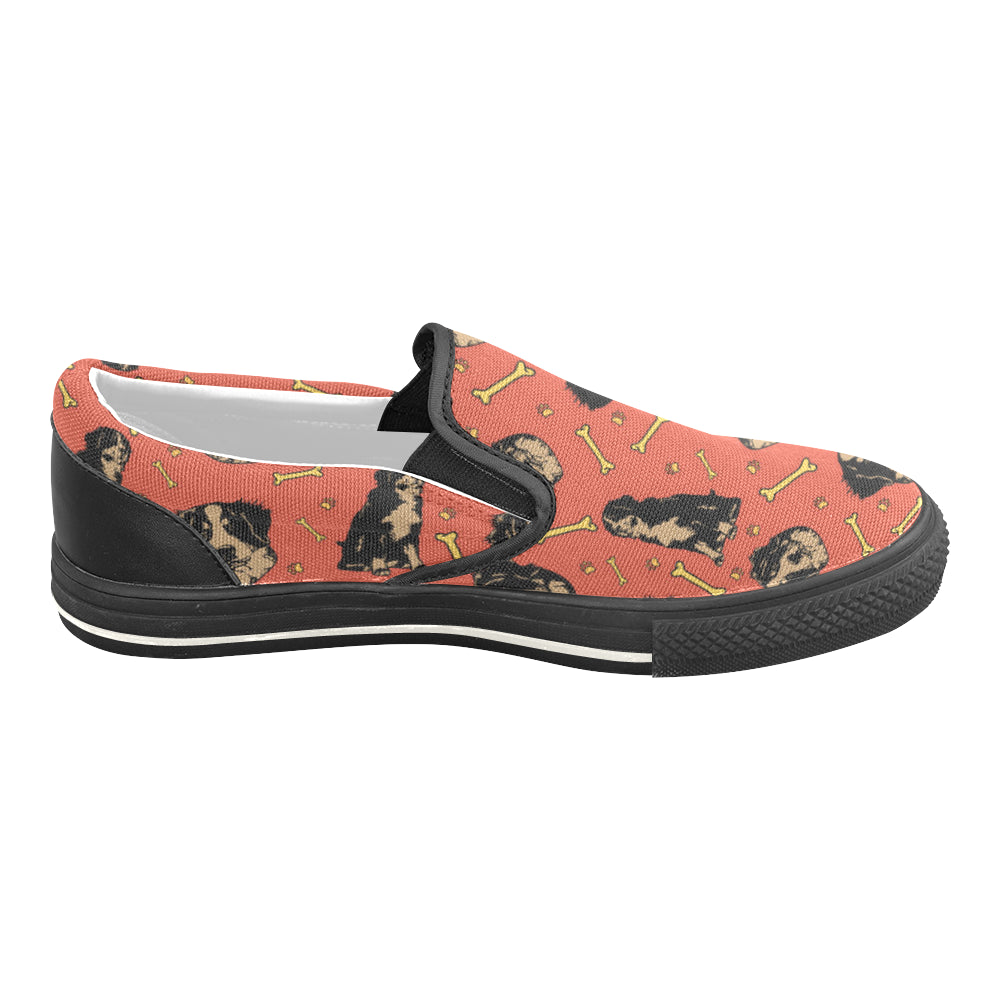 Bouviers Black Women's Slip-on Canvas Shoes/Large Size (Model 019) - TeeAmazing