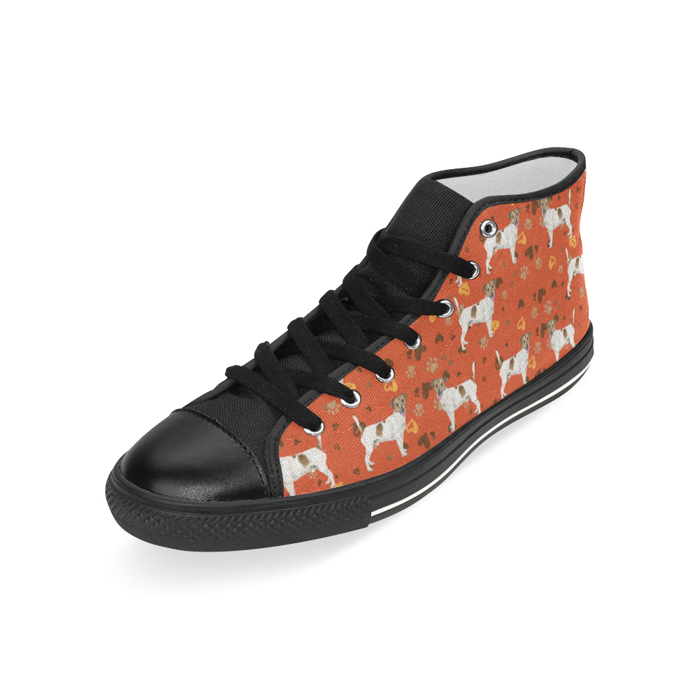 Jack Russell Terrier Water Colour Pattern No.1 Black Men's Classic High Top Canvas Shoes - TeeAmazing