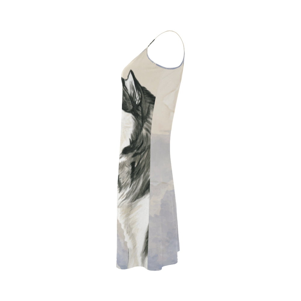 Alaskan Malamute Water Colour Alcestis Slip Dress - TeeAmazing