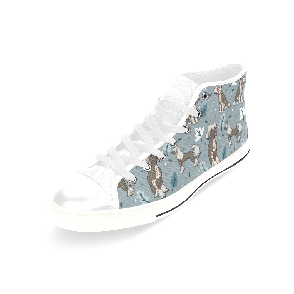 Chinese Crested White Men's Classic High Top Canvas Shoes /Large Size - TeeAmazing