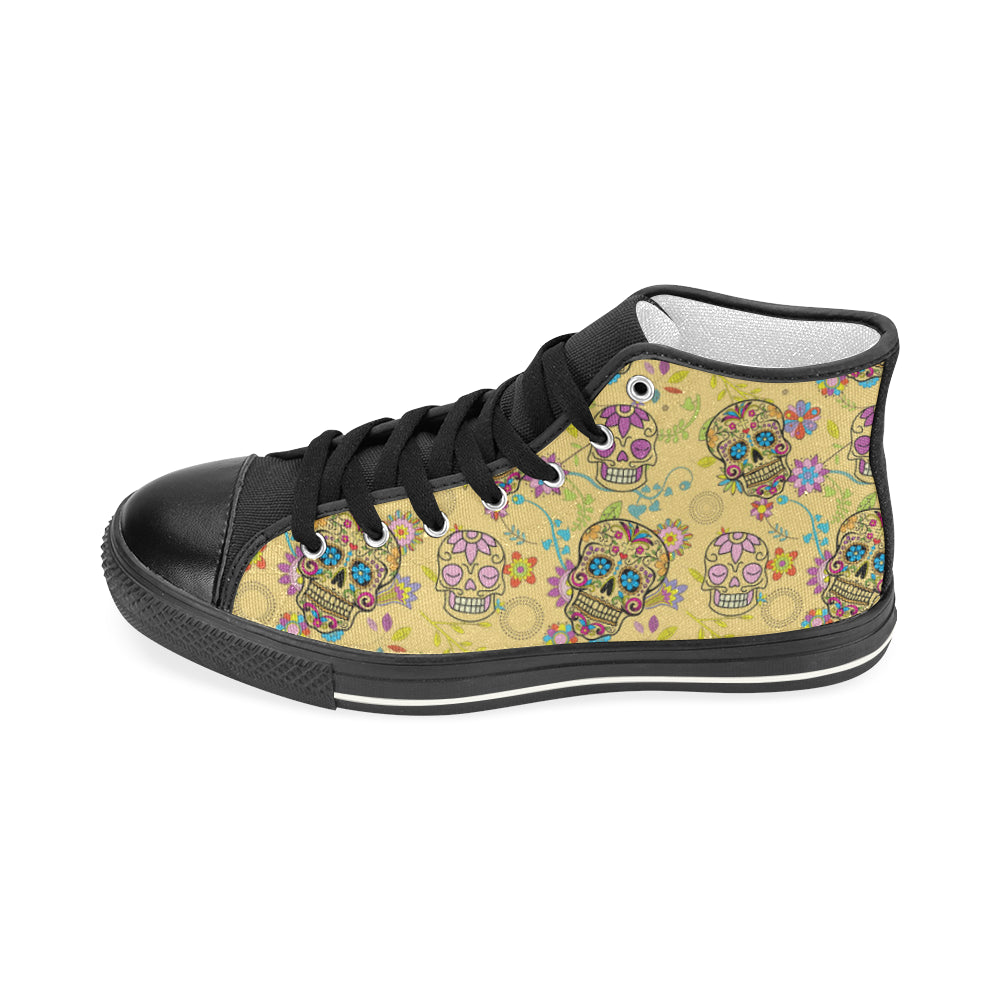 Sugar Skull Black Men's Classic High Top Canvas Shoes - TeeAmazing