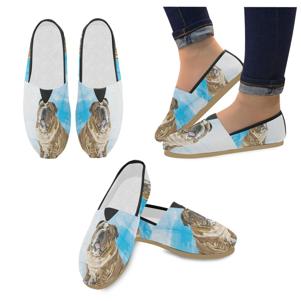 English Bulldog Water Colour No.1 Women's Casual Shoes - TeeAmazing
