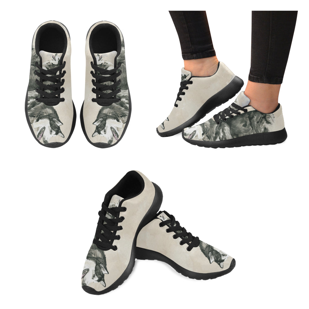 Alaskan Malamute Water Colour Black Sneakers for Women - TeeAmazing