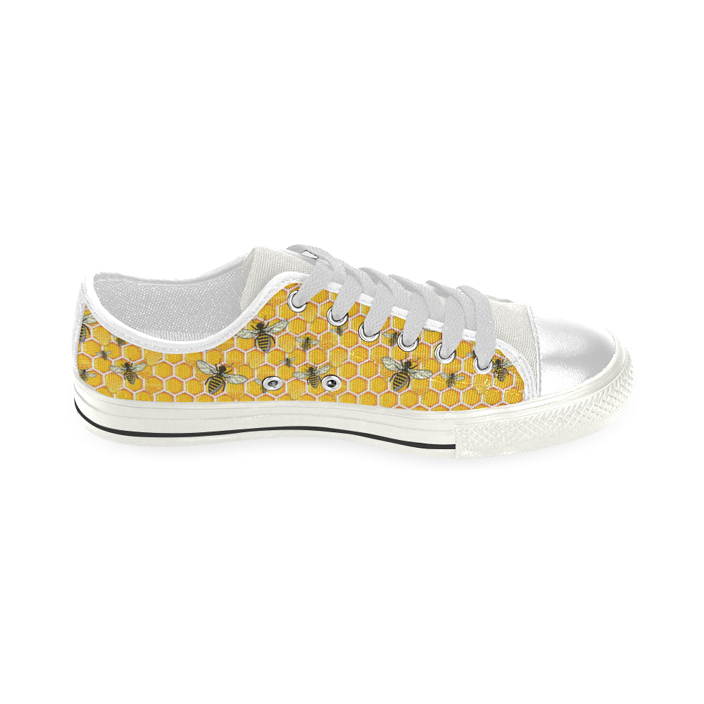 Bee White Low Top Canvas Shoes for Kid - TeeAmazing