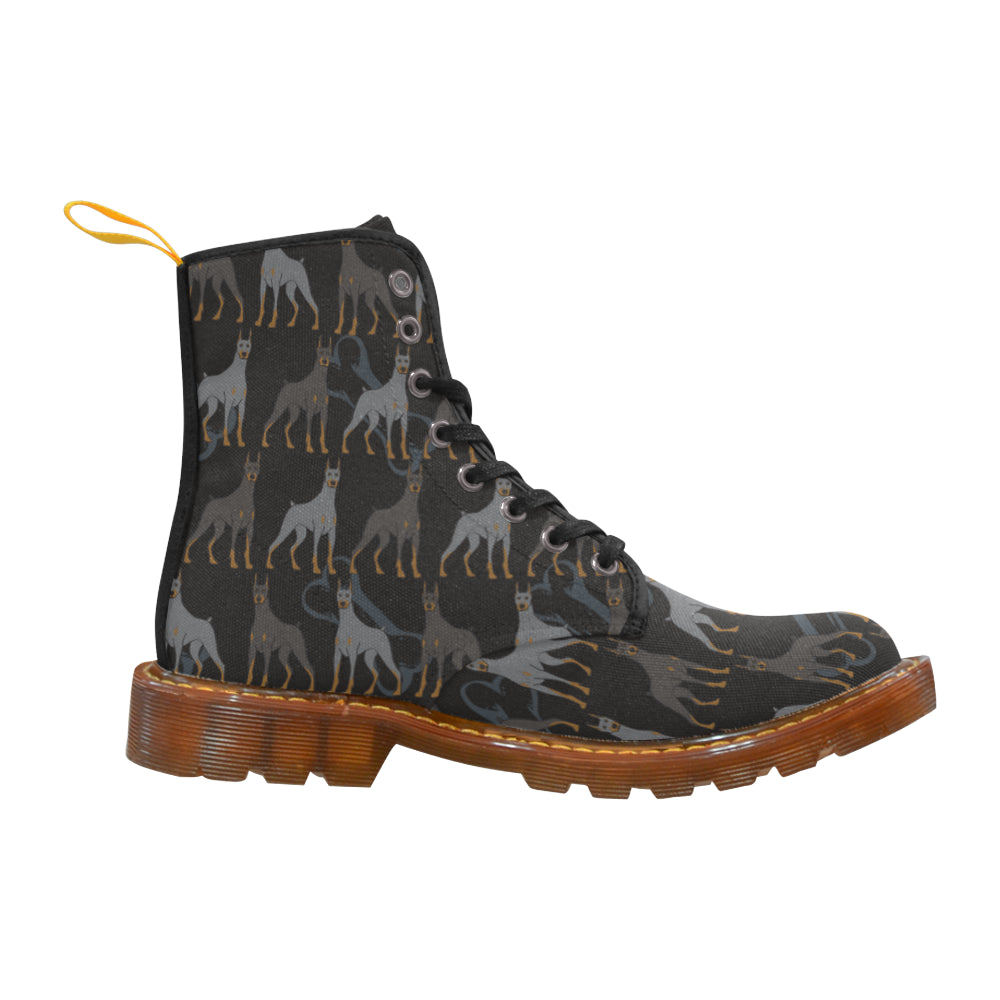 Doberman Pinscher Drawing Pattern Black Boots For Women - TeeAmazing