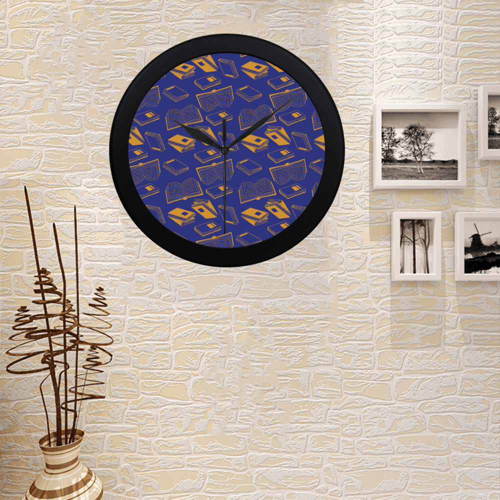 Book Pattern Black Circular Plastic Wall clock - TeeAmazing