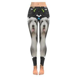 Bearded Collie Dog Low Rise Leggings (Invisible Stitch) (Model L05) - TeeAmazing
