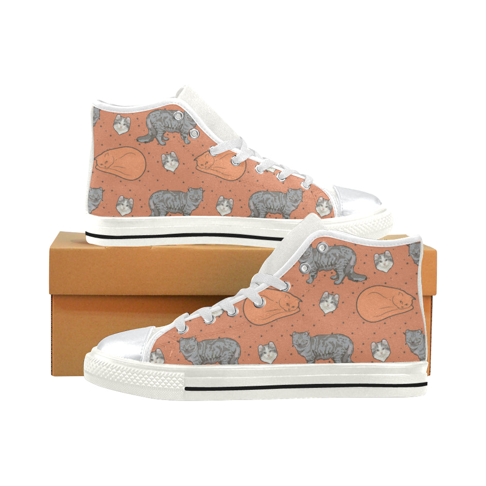 American Curl White High Top Canvas Shoes for Kid - TeeAmazing