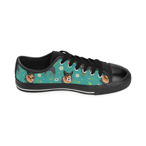 Australian Cattle Dog Flower Black Men's Classic Canvas Shoes - TeeAmazing
